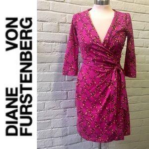 DVF New Julian Two pink cotton silk wrap dress, 2